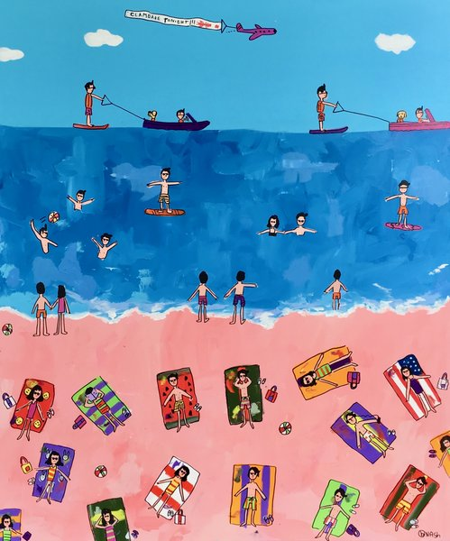 A Day at the Beach. 60 x72
