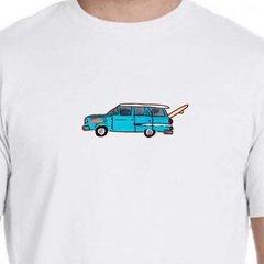 Blue station wagon