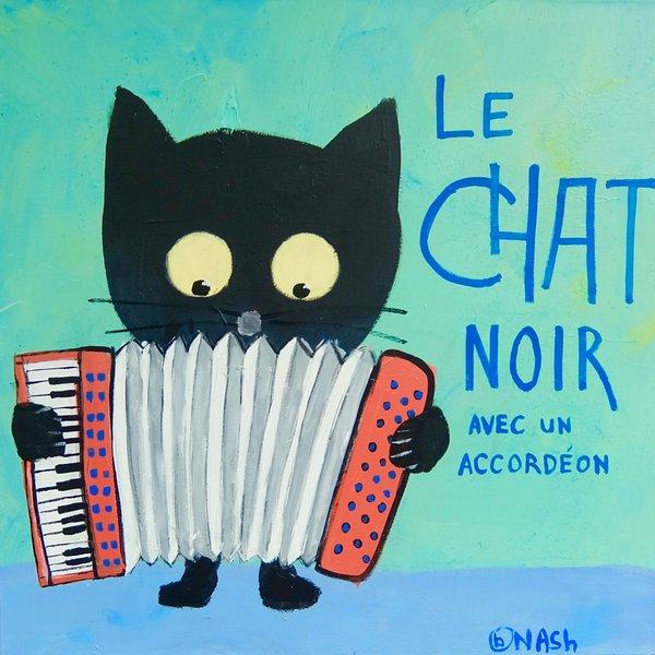 Le Chat Noir - Accordéon. 36 x 36