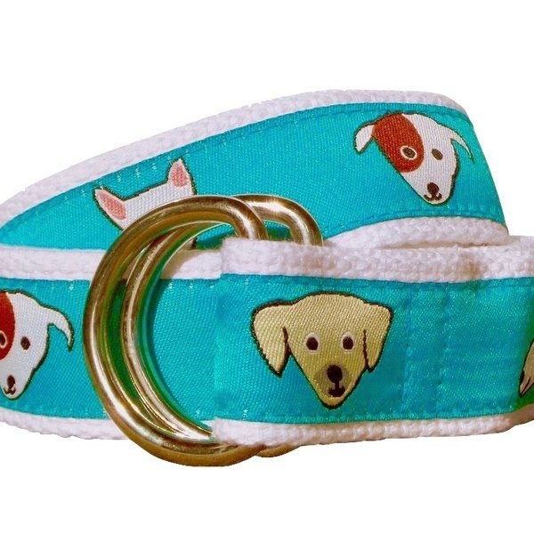 Unisex Ribbon Belt, Dogs.  Made in the America.