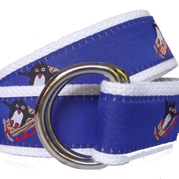 Unisex Ribbon Belt, Penguins.  Made in the America.