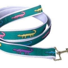 "Dog Leash, ""alligator"" print. Made in America."