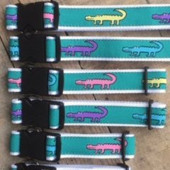 "Dog Collar, ""alligator"" print. All sizes. Made in America"