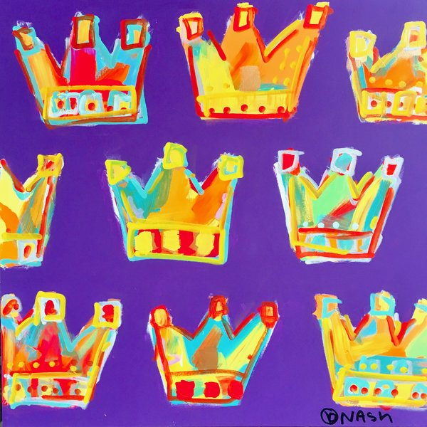 Crowns - purple. 36 x 36.