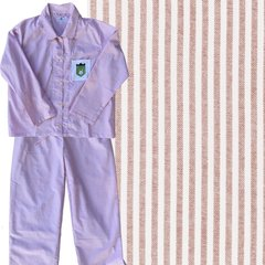 Women's Pink/White Oxford-Cloth Pajama Set. Made in America. CLEARANCE!