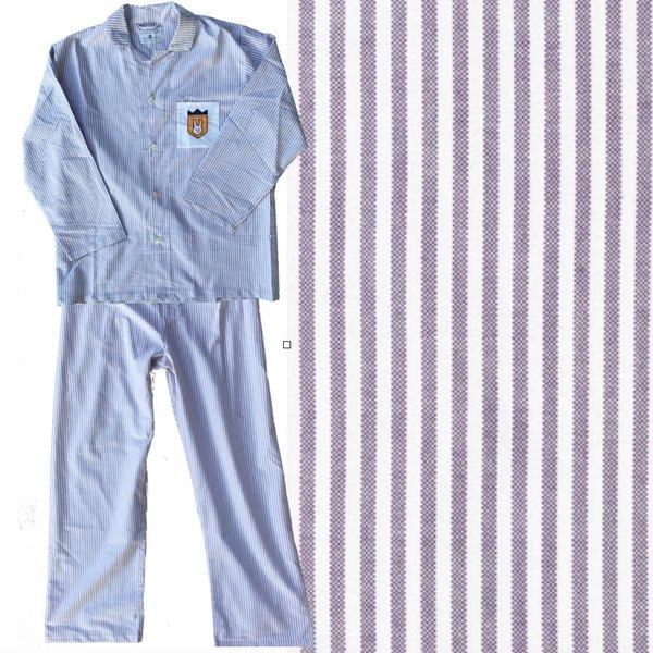 Men's Pajama Set. 100% Oxford Cloth, Purple/White. Made in America.