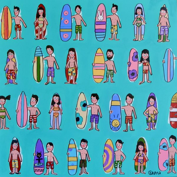 Surfers. 36 x 36.