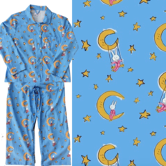 Women's All-Cotton LaLa on the Moon Pajama Set.  Made in America.