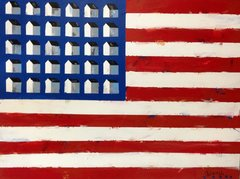 Flag and Homes. 36 x 48