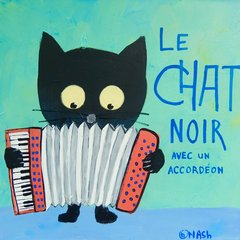 Le Chat Noir - Accordéon. 36 x 36