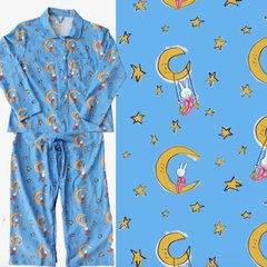 Men's All Cotton LaLa On the Moon Pajama Set. Made in America.