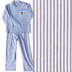 Men's All Cotton Purple-Striped Oxford Cloth Pajama Set. Made in America.