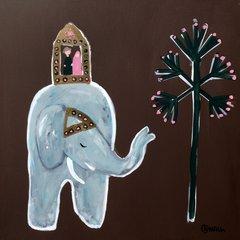 Elephant Ride. 36 x 36