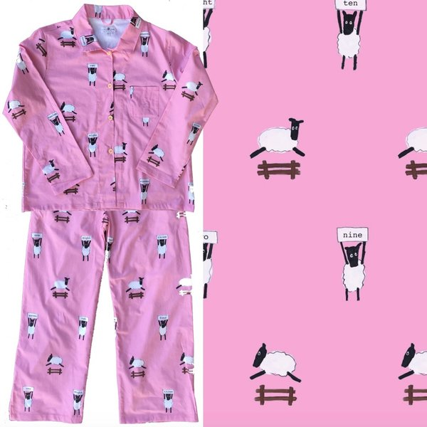 Women's All-Cotton Counting Pink Sheep Pajama Set.  Made in America.