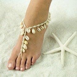 Real Sea Shells Beach Theme Barefoot Sandals Wedding Foot Jewelry