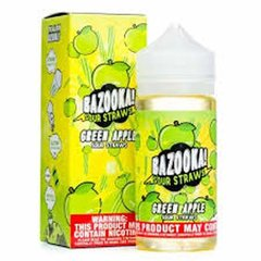 Green Sour Apple Straws by Bazooka