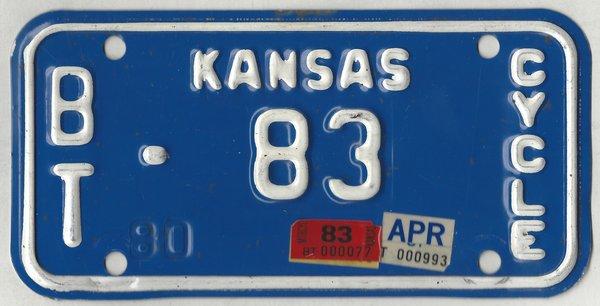 Kansas 1983 motorcycle license plate Barton Co. #BT-83 ...