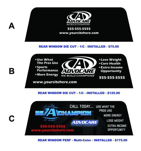 Advocare Rear Window Decal Stick N Stitch LLC - Advocare car decal stickers