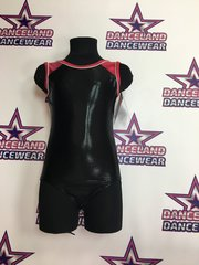 sleeveless metallic hot pink and black gymnastic leotard by mondor