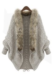 Faux Fur Trimmed Batwing Sweater