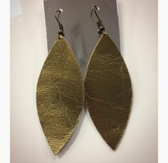 Shiny Gold Leather Earrings