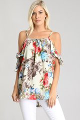 Floral Cold Shoulder Knotted Top
