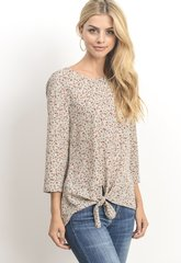 Floral Detailed Front Knot-Tan