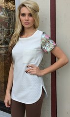 Ivory Quilted S/S Top w/Sequin Sleeve