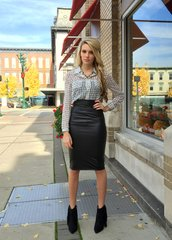 Black Faux Leather Midi Fitted Skirt