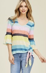 Striped Belle Sleeve Knotted Top