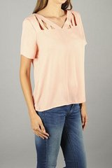 Peach Cutout V Neck Tee