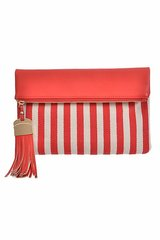 Striped Clutch Purse w/ Fold Over Close