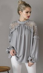 Suede Grey Fancy Lace Detail