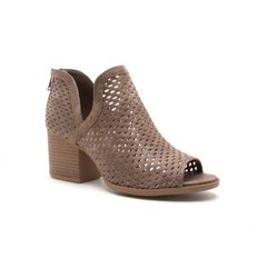 Distressed Dark Taupe Open Toe Bootie