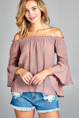 3/4 Bell-Sleeve Off the Shoulder Top
