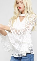 White Star Lace Top Bell Sleeve