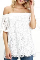Solid Lace Open Shoulder Top