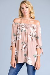 Dusty Pink Floral Off Shoulder Tunic
