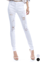 Distressed White Denim