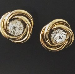 Gold Stud Earrings w/ Diamond embellishment