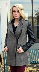 Brown Coat w/ Faux Leather Sleeves and Collar Detail