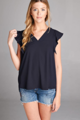 V-Neck Sleeveless Blouse w/ Ruffle Edge