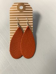 Starry Teardrop Solid Color Leather Earrings