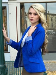 Royal Blue Blazer w/Button Front Closure