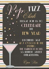 Pop, Fizz, Clink New Year Invitation