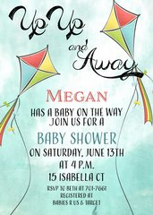 Up, Up and Away Kite Baby Shower Invitation