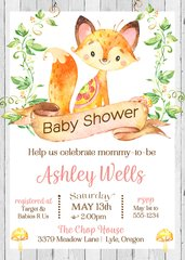 Rustic Fox Baby Shower Invitation