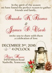 Rustic Christmas Lantern Wedding Invitation