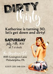 Dirty Thirty Adult Birthday Invitation