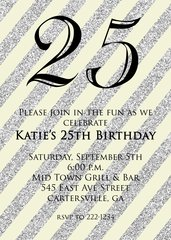 Tan and Silver Glitter 25th Birthday Invitation